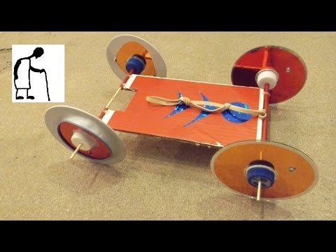 3 x Number 64 Rubber Band Powered Car goes 5 metres