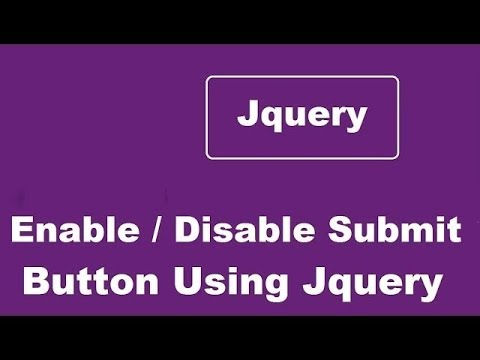 How to Enable Or Disable Submit Button Using Jquery
