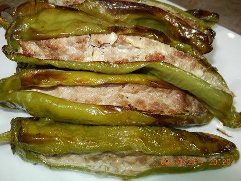 Baked Green Peppers with Ground Beef Stuffing Recipe