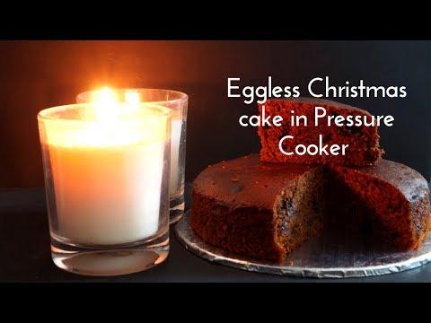 Eggless Christmas Cake in Pressure Cooker - Eggless Christmas Cake - Christmas Cake with Coco Powder