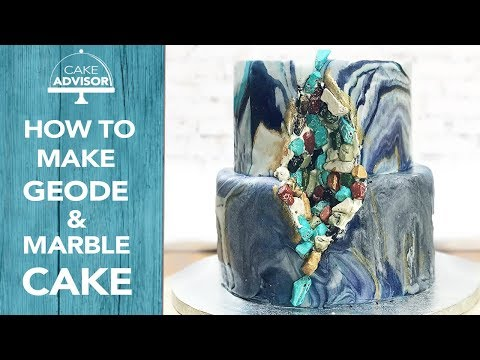 How to make a geode chocolate cake with marble fondant and gold nuggets  by Cake Advisor