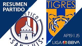 Resumen y Goles  | Atlético San Luis vs Tigres UANL | Liga BBVA MX - Apertura 2019  - Jornada 5