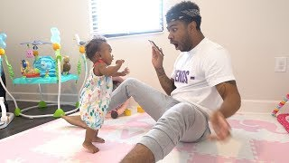 BABY TAKES HER FIRST STEPS!!! (7 MONTHS OLD)