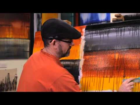 Free online Abstract Art Lesson Demo, fluid drip effect art techniques