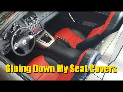 Gluing Down My Custom Seat Covers in My Saturn Sky