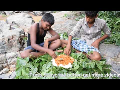 Huge water falls in kalvarayan hills - We prepared fish curry and eating fish curry.