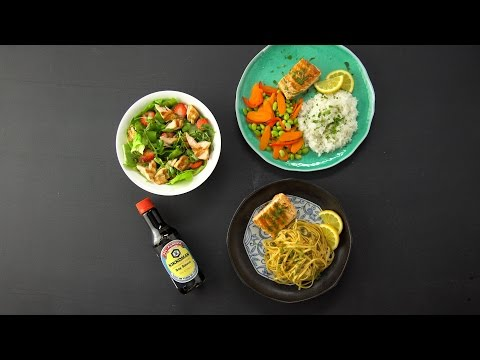 Sesame grilled whole salmon 3 ways - over Salad, in Pasta, with Rice
