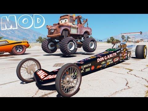 Grand Theft Auto V - SNOT ROD VS MONSTER TRUCK MATER DISNEY CARS