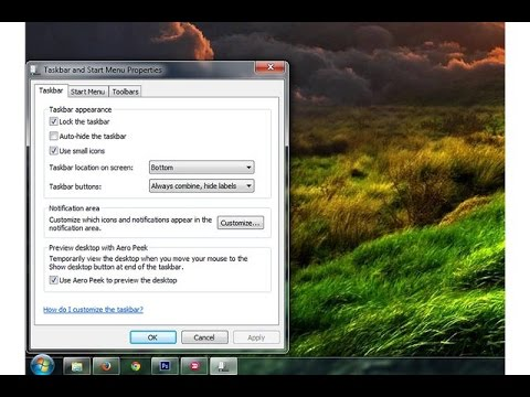 How to reset the Windows Taskbar to its Default Settings in Windows 7