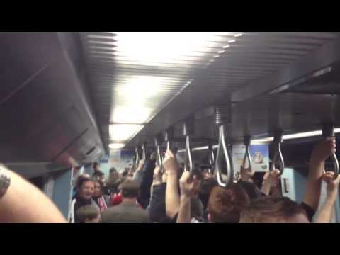 Newcastle fans on the train to the real stadium of light (B