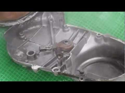 How to Clean a motorcycle engine casing using Soda Blasting - dirt deposits and de-greased.
