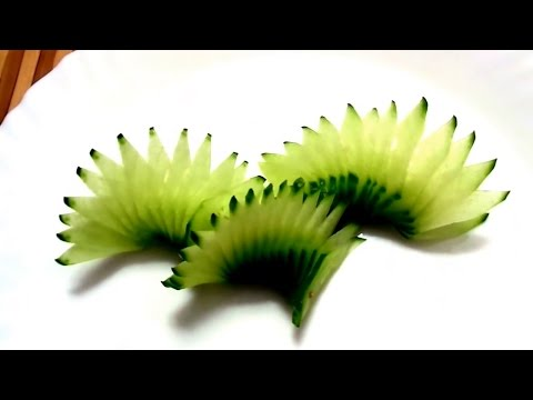 HOW TO MAKE CUCUMBER DESIGN - VEGETABLE CARVING & CUCUMBER GARNISH - ART IN CUCUMBER