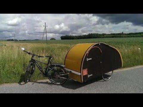 Homemade teardrop bicycle micro camper trailer