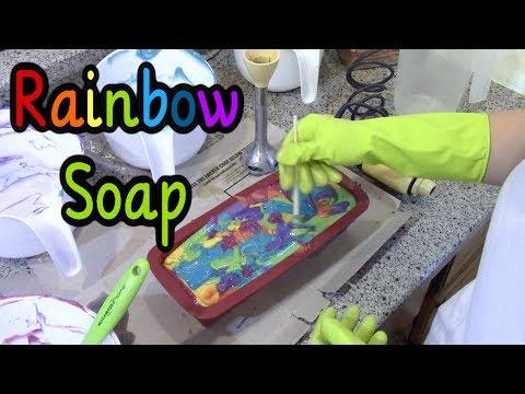 Making & Cutting Rainbow Swirl Cold Process Soap