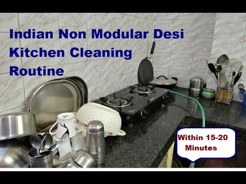 INDIAN KITCHEN CLEANING ROUTINE | DAILY  KITCHEN CLEANING ROUTINE TIPS AT NIGHT रसोई  कैसे साफ़  करे