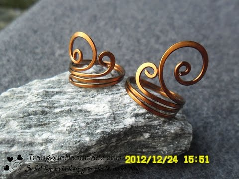 Simple sea waves copper ring - How to make wire jewelry 87