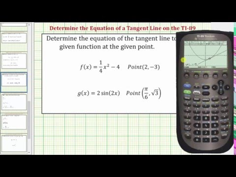 Determine Equations of Tangent Lines on the TI-89