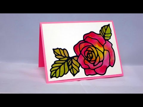 Rose Garden Stained Glass Card
