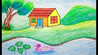 How to draw Scenery | scenery of house | draw for beginners | draw for kids | drawing