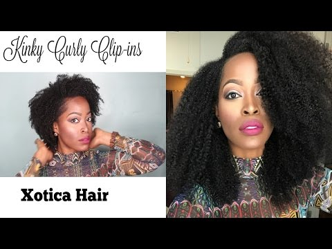 How to Style Kinky Curly Clip ins : Xotica hair |Low pony tail Low Bun | Big Diana Ross Hair