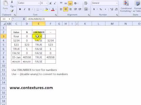 Return Cell Value as Number with Excel N Function