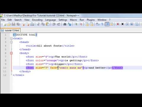 HTML Tutorial - 13: The Font Tag