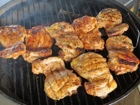 BBQ Rubs on Grilled Boneless Skinless Chicken Thighs