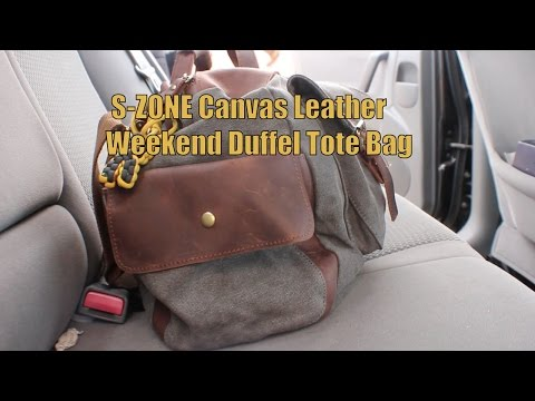 PR: S-ZONE Retro Canvas Leather Weekend Duffel Tote Bag
