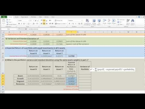 Calculating Expected Return and Std Deviation Ch 8 Prob 22  (part 2)