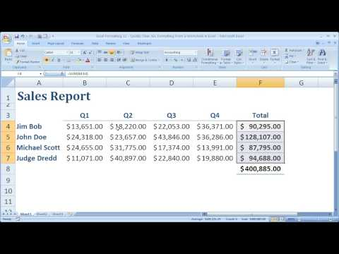Excel Formatting 11 - Quickly Clear ALL Formatting From a Worksheet in Excel