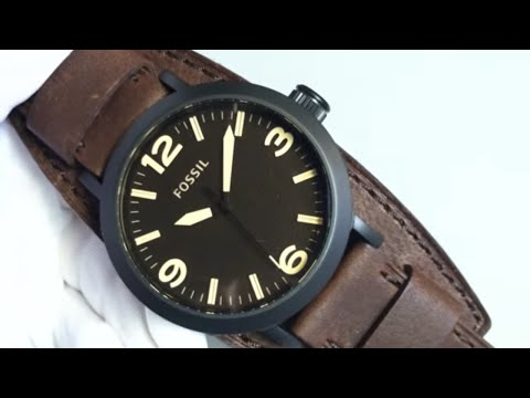 Men's Brown Fossil Clyde Leather Cuff Band Watch JR1365