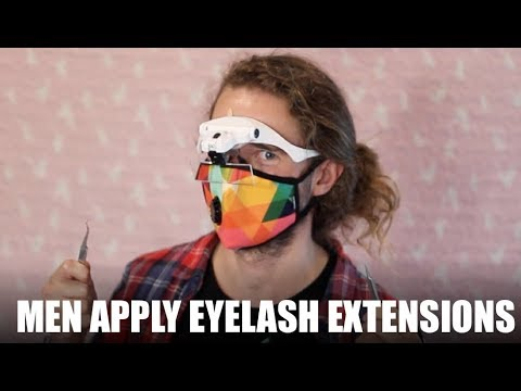 Men Try Applying Eyelash Extensions on Clients