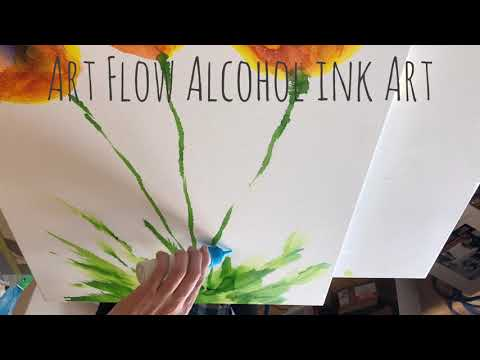 Alcohol Ink Flowers with Air