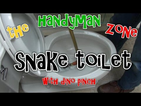 Clear Clogged Toilet Using Closet Auger or Snake