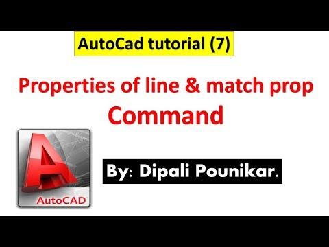 AutoCad tutorial (7) on Properties of line & match prop Command