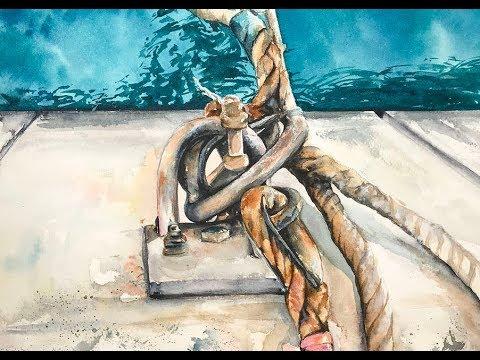 Watercolor Marina Ropes Dock Painting Tutorial