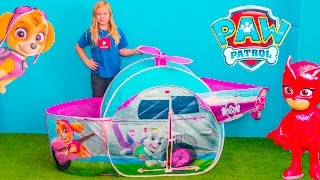 PAW PATROL Nickelodeon Assistant Skye Surprise Tent with PJ Masks Surprise Toys Video