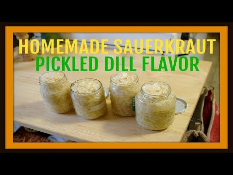 Homemade Fermented Cabbage - Sauerkraut (Pickled Dill Flavor Kids Will Love)