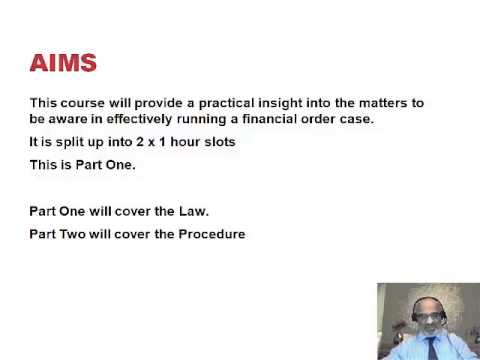 Principles and Procedure in Financial Order Cases