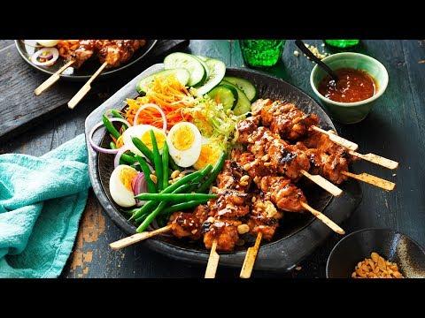 Chicken Satay Skewers with Gado Gado