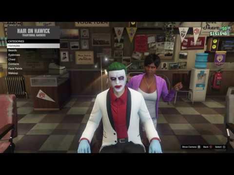 Grand Theft Auto 5 Online Suicide Squad Joker Makeup / Hair / Look tutorial v.2