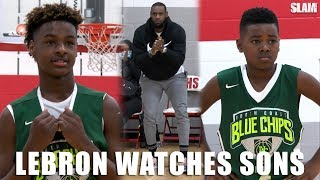 LeBron James watches Bronny and Bryce BALL on OLDER competition!