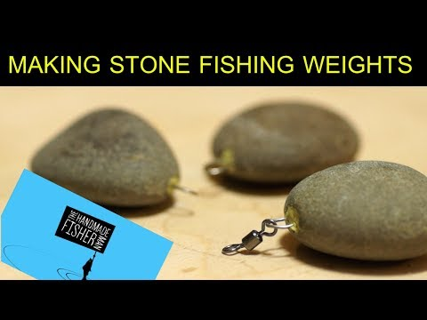 Making stone fishing weights or sinkers