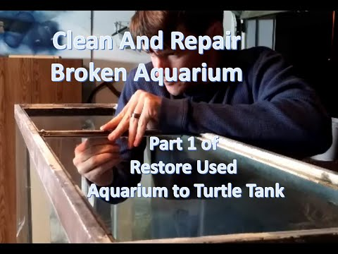 Clean & Repair Aquarium Bracing: Part 1 of Restore Used Broken Aquarium to Turtle Tank Cheap!