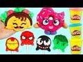 DIY Play Doh Marvel Superheroes Iron Man Spiderman Lollipops Shopkins