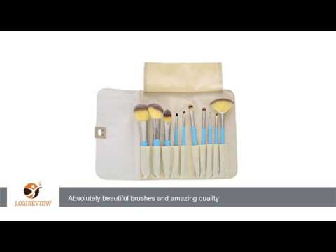 KINGLAKE® 10 Pcs Blue Professional Makeup Brush Set Hot Sale Makeup Kits Cosmetics Brush Set with PU