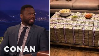 Why Is Curtis '50 Cent' Jackson Posing With Cash If He's Broke?  - CONAN on TBS