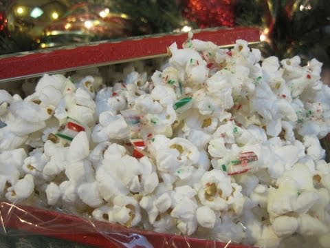 Christmas Day WHITE CHOCOLATE PEPPERMINT &  CRUSHED CANDY CANE POPCORN - How to make POPCORN Recipe