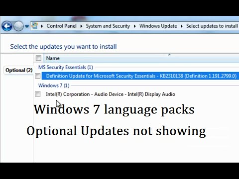 Windows 7 Language Packs Optional Updates are not showing when checking for updates (Solution)
