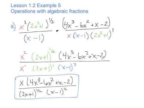Algebraic Fractions (Lesson 1.2 Ex 5)
